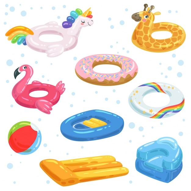 Aufblasbare gummis, matratzenbälle und andere wasserausrüstungen für kinder Premium Vektoren