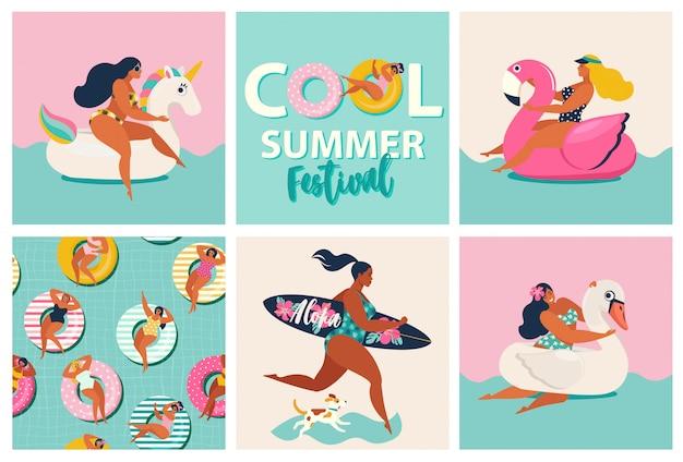 Aufblasbare schwimmbecken mit flamingo, einhorn und schwan. Premium Vektoren