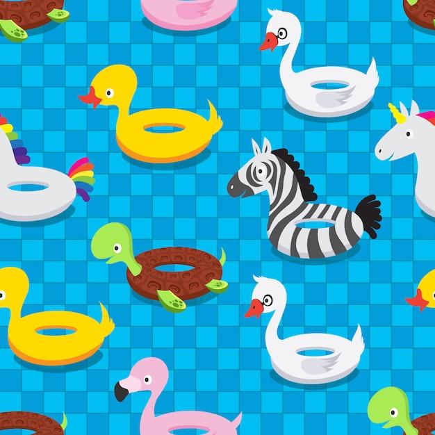 Aufblasbare tiergummispielwaren im swimmingpool. schwimmenfloss schellt nahtloses muster des sommervektors Premium Vektoren