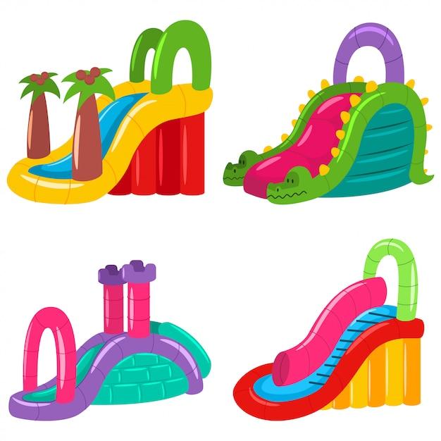 Aufblasbare wasserrutschen für kinder verschiedener formen. sommer-vergnügungspark Premium Vektoren