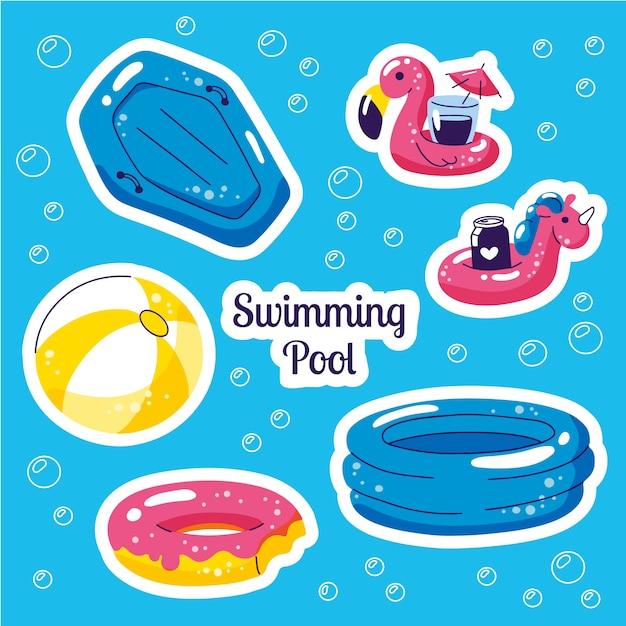Aufblasbares schwimmerset. beach party vektor sommer aufkleber Premium Vektoren