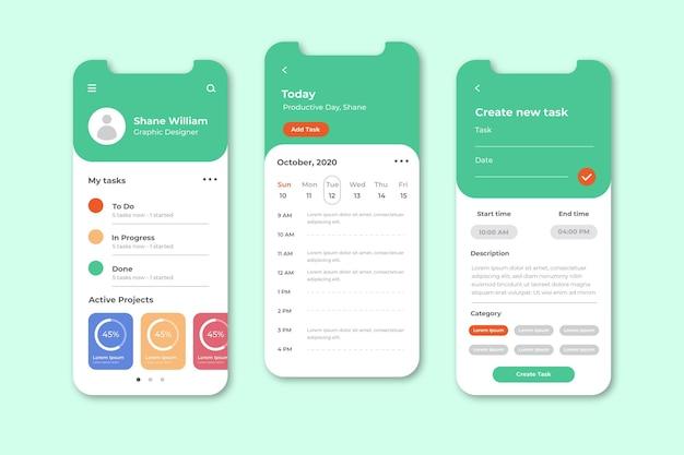 Aufgabenverwaltungs-app-bildschirme Kostenlosen Vektoren