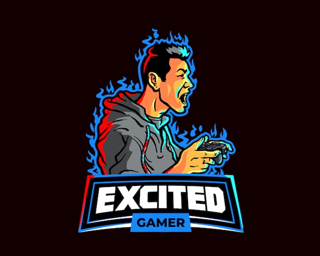 Aufgeregtes gamer esport gaming team logo Premium Vektoren