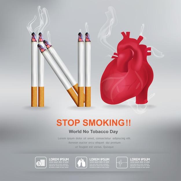 Aufhören zu rauchen concept world no tobacco day Premium Vektoren