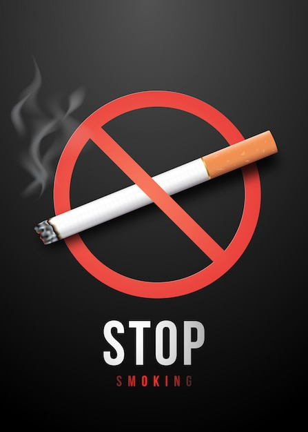 Aufhören zu rauchen plakat. Premium Vektoren
