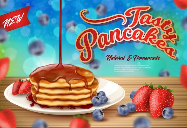 Aufkleber-aufschrift neuer fasty pancakes realistic. Premium Vektoren