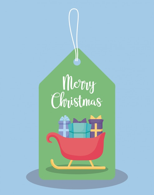 Aufkleber des wagens weihnachtsmann mit geschenkboxen Premium Vektoren