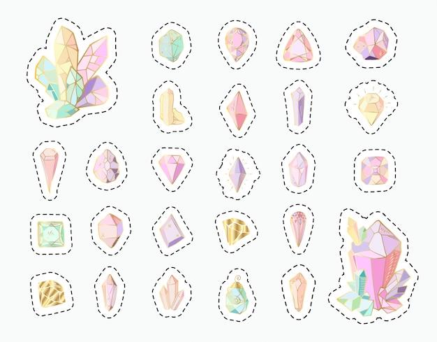 Aufkleber eingestellt - regenbogenkristalle oder edelsteine, lokalisierte flecken Premium Vektoren