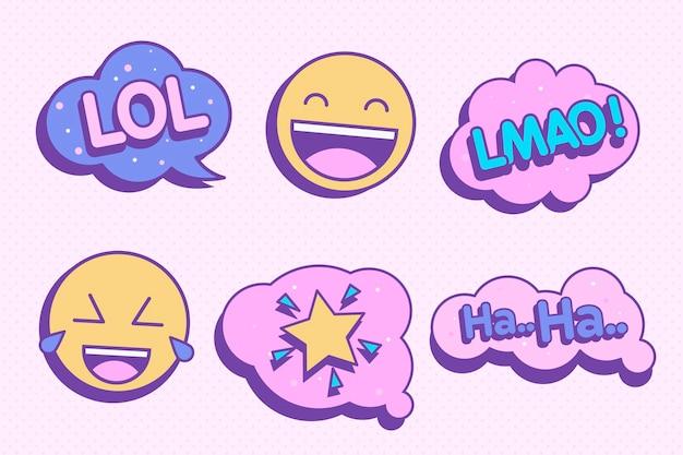 Aufkleber mit chatblasen und emoji Premium Vektoren