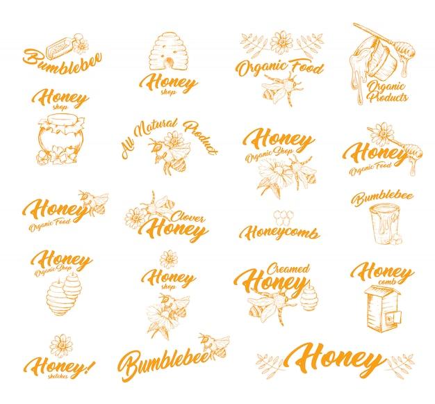 Aufkleber oder etiketten mit bienen für honigbehälter Kostenlosen Vektoren