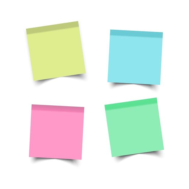 Aufkleber quadratisch. haftnotizen. papierbogen büro Premium Vektoren