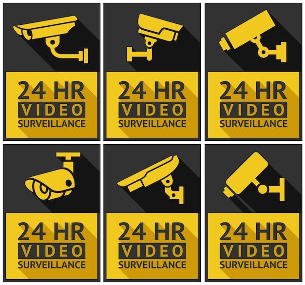 Aufkleber überwachungskamerasatz Premium Vektoren