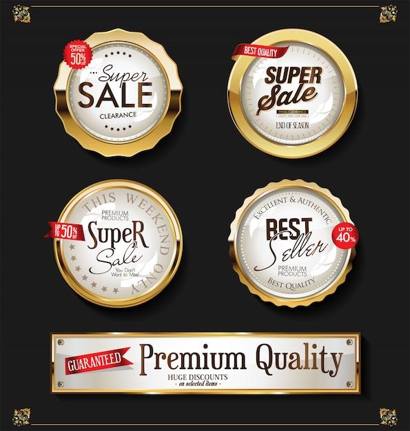 Aufkleber-vektorsammlung der retro- weinlese glänzende goldene Premium Vektoren