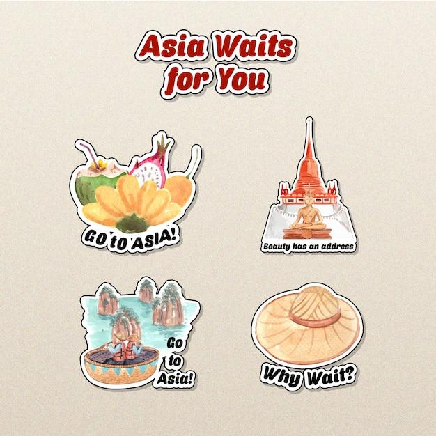 Aufkleberentwurf mit asien-reisekonzept für charakterkarikatur lokalisierte aquarellvektorillustration Kostenlosen Vektoren