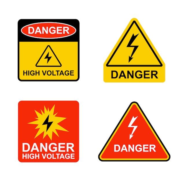 Aufklebersatz gefährlich hohe spannung Premium Vektoren