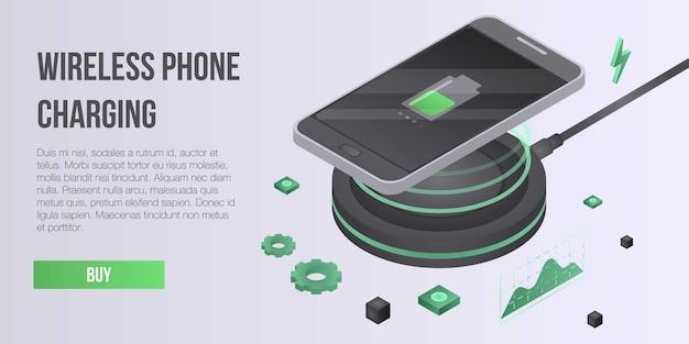 Aufladungskonzeptfahne des drahtlosen telefons, isometrische art Premium Vektoren