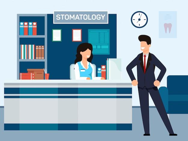 Aufnahme an der zahnmedizinischen klinik-vektor-illustration. Premium Vektoren