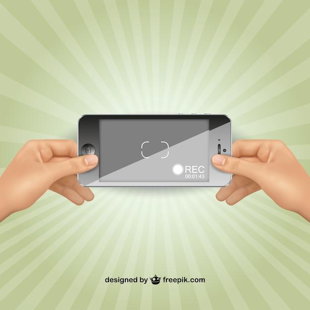 Aufnahme mit iphone vektor Kostenlosen Vektoren