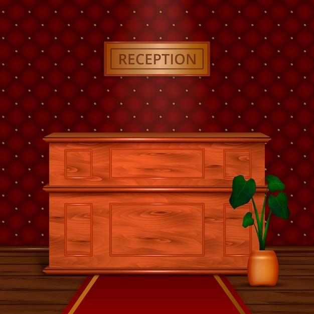 Aufnahmeschreibtisch-hotel-innenraum realistisch Kostenlosen Vektoren