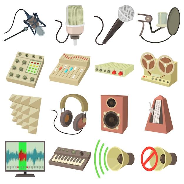 Aufnahmestudio-symbolikonen eingestellt Premium Vektoren