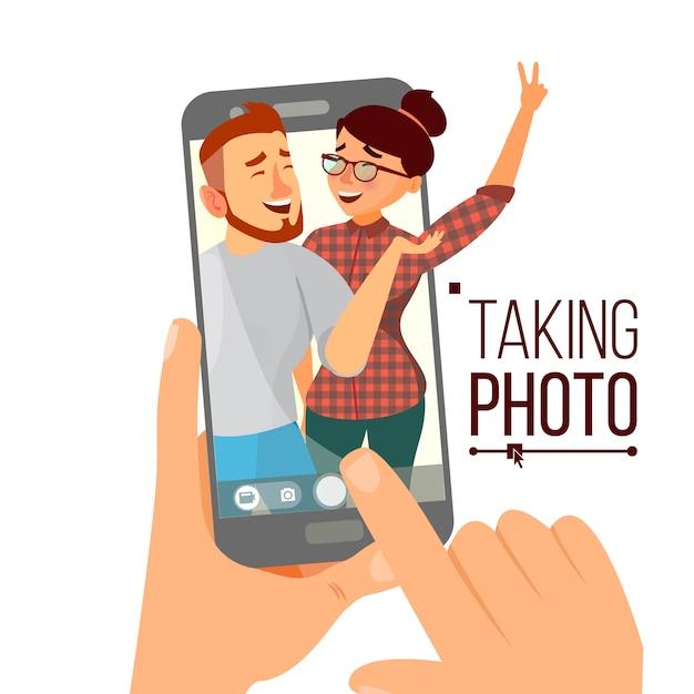 Aufnehmen von fotos auf dem smartphone Premium Vektoren