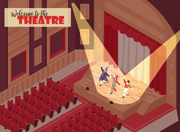 Aufpassende leistung der leute in der operntheaterhalle 3d isometrisch Kostenlosen Vektoren