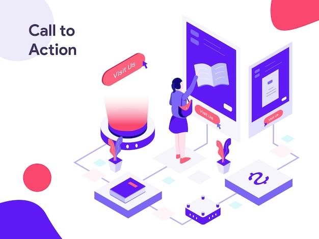 Aufruf zur aktion isometrische illustration Premium Vektoren