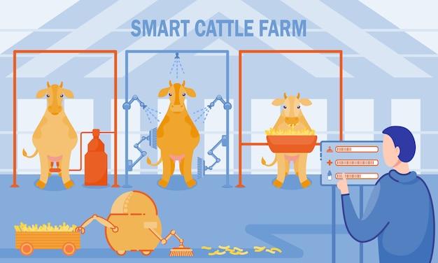 Aufschrift-intelligente rinderfarm-vektor-illustration. Premium Vektoren