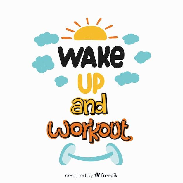 Aufwachen und workout-schriftzug Kostenlosen Vektoren