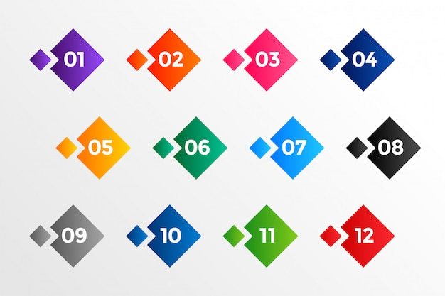 Aufzählungszeichen für geometrische stilnummern in vielen farben Kostenlosen Vektoren