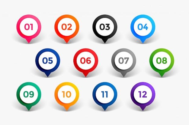 Aufzählungszeichen nummer punkte bis zwölf Kostenlosen Vektoren