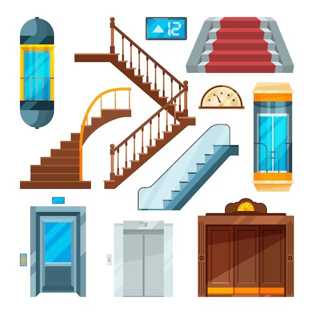 Aufzüge und treppen in verschiedenen stilen. Premium Vektoren