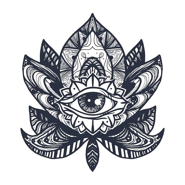 Auge auf lotus tattoo Premium Vektoren