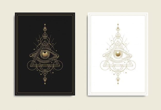 Auge der vorsehung mit unmöglichem dreieck, penrose-dreieck, heilige geometrie. freimaurer, alles sehende auge, neue weltordnung, religion, spiritualität, okkultismus, tätowierung, tarot. isolierter vektor. Premium Vektoren