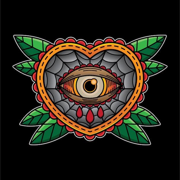 Auge herz schreien flash tattoo Premium Vektoren