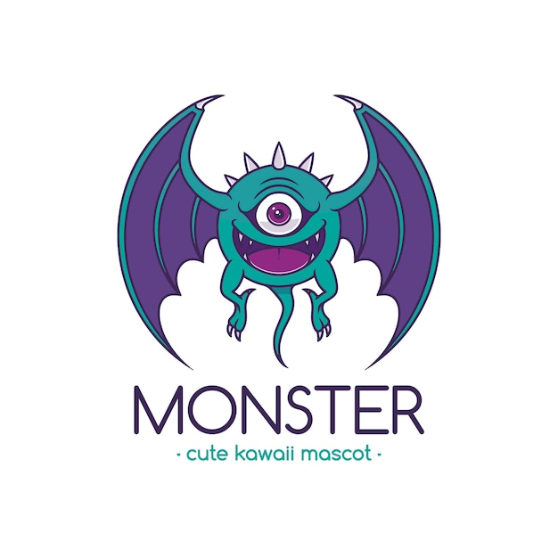Auge monster cartoon logo vorlage Premium Vektoren