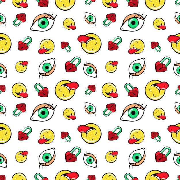 Augen herzschlösser und emoticons nahtloses muster. mode-hintergrund im retro-comic-stil. illustration Premium Vektoren