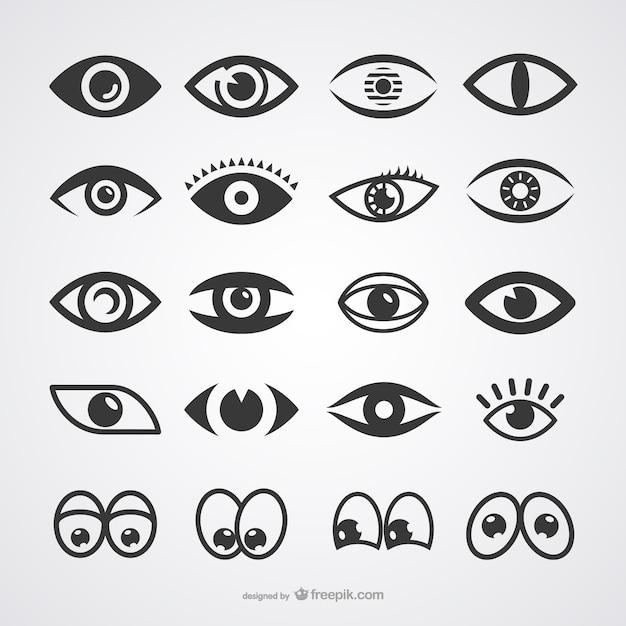 Augen-ikonen-sammlung Kostenlosen Vektoren