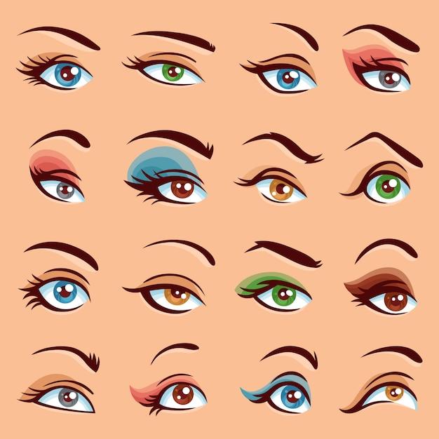 Augen make-up icons set Kostenlosen Vektoren