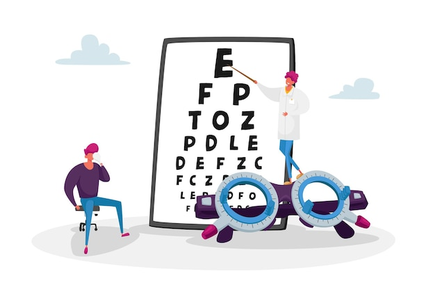 Augenarzt arzt check up patienten sehkraft für brillen dioptrien illustration Premium Vektoren