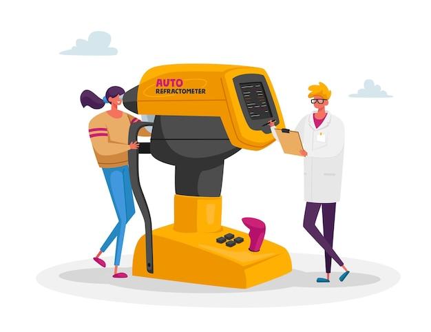 Augenarzt doktor charakter test patient auge auf auto refraktometer illustration Premium Vektoren