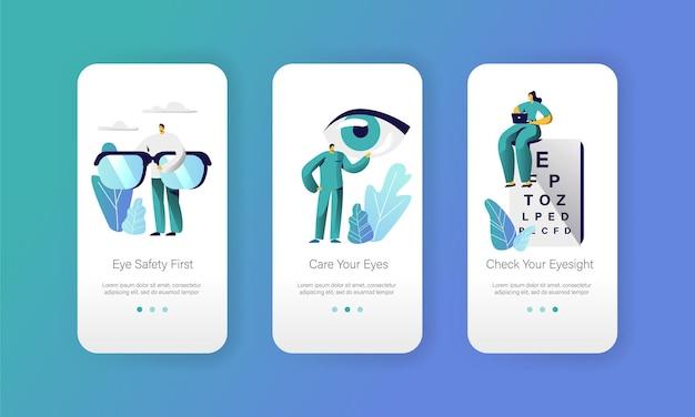 Augenarzt doktor test sehkraft auf textdiagramm mobile app seite onboard screen set. Premium Vektoren