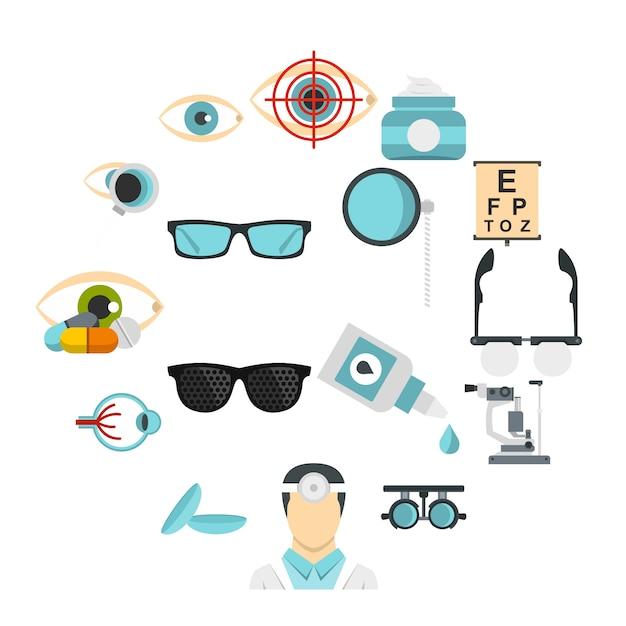 Augenarztwerkzeuge stellten flache ikonen ein Premium Vektoren
