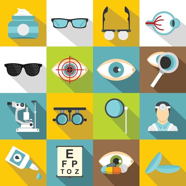 Augenarztwerkzeugikonen eingestellt, flache art Premium Vektoren