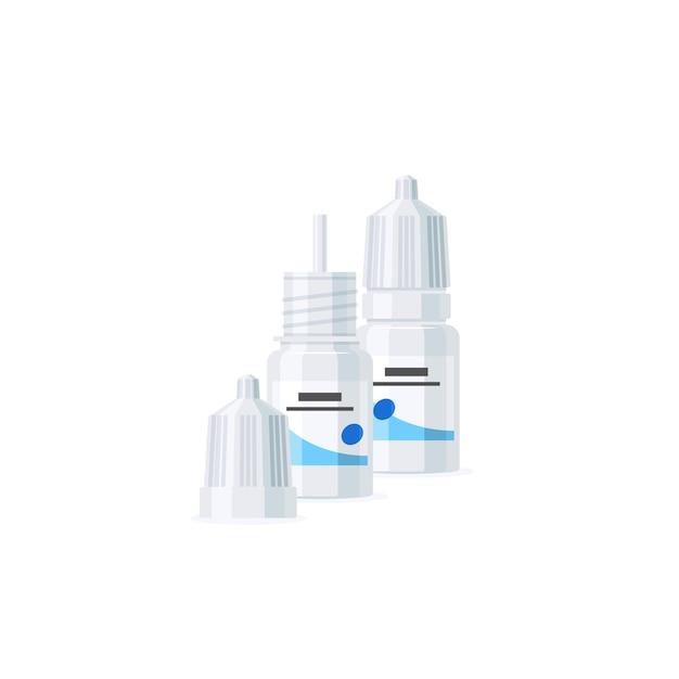 Augentropfenflaschen in der flachen artillustration Premium Vektoren