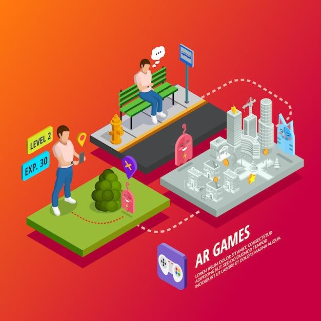 Augmented reality ar-spiele isometrisches poster Kostenlosen Vektoren