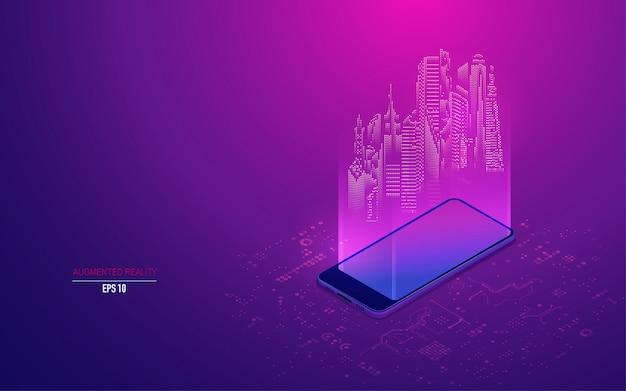 Augmented reality auf dem handy Premium Vektoren