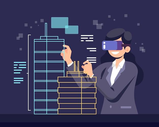 Augmented reality konzept illustration Kostenlosen Vektoren