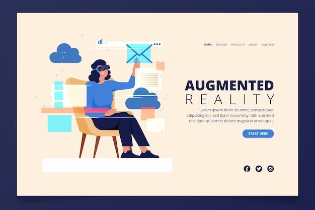 Augmented reality konzept - landing page Kostenlosen Vektoren