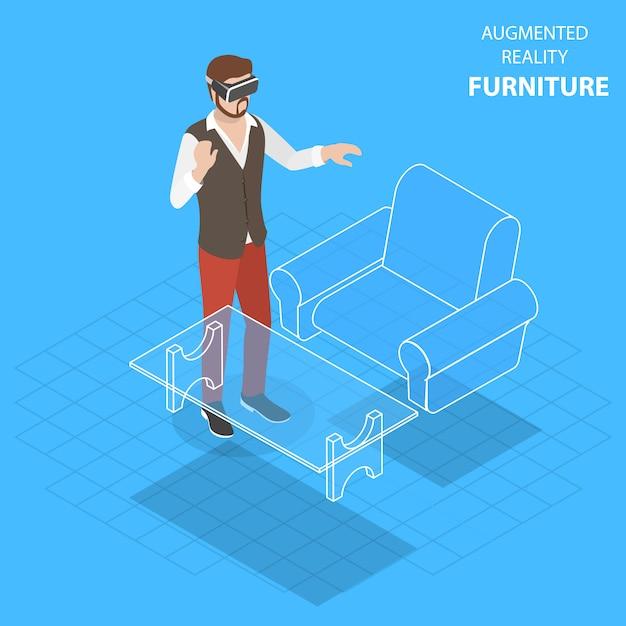 Augmented reality möbel flach isometrisch Premium Vektoren